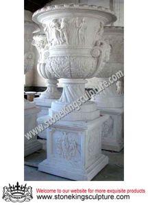 Stone Carving Vase/Flowerpot, Marble Garden Vase and Garden Flowerpot (SK-2206) pictures & photos