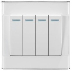 Silver Lace 4 Gang Double Poles Wall Switch (OMY-D6-204)