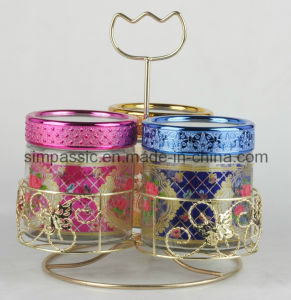 3PCS Colored Glass Storage Jar with Lid&Bracket (SG1537SJ) pictures & photos