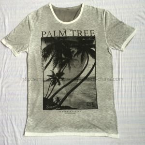 Summer Palm Printing Burnout T-Shirt in Man Sport Knitwear Clothes Fw-8671 pictures & photos