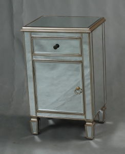 Mirrored Sidetable with Ample Storage in Champagne Finish pictures & photos