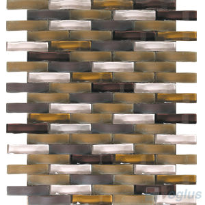 Arch Wavy Brown Mixed Frosted Crystal Glass Tile