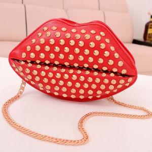 Fashionable Beaded Rivet PU Leather Lip Shoulder Bag for Girls (XD140041)