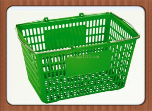 Low Price Plastic Supermarket Shopping Baskets with Metal Handles pictures & photos