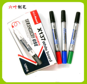 Two Head Whiteboard Marker Pen (X-137) , Double Head Dry Eraser Pen pictures & photos