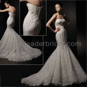 Luxury Mermaid Lace Wedding Dress Strapless Custom Bridal Gown L59 pictures & photos