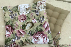 Country Style Floral Printed Chair Seat Cushion with Ties