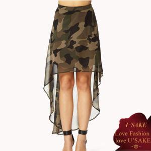 Ladies High-Low Camo Sexy Fashion Chiffon Skirt