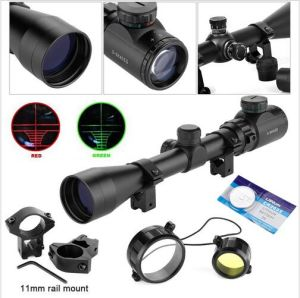 3-9X40eg Red Green Illuminated Laser Hunting Rifle Scope Sight Mil-DOT Reticle pictures & photos