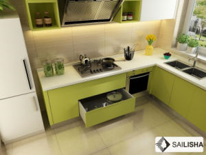 Modern Green Home Hotel Furniture Island Wood Kitchen Cabinet pictures & photos