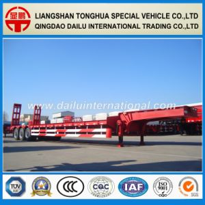 2 Axles Tires Exposed Red Low Bed/ Lowboy Semi Trailer pictures & photos
