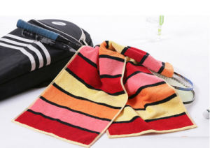 Custom Striped Cotton Thick Sport Super Absorbent Dyed Towel pictures & photos