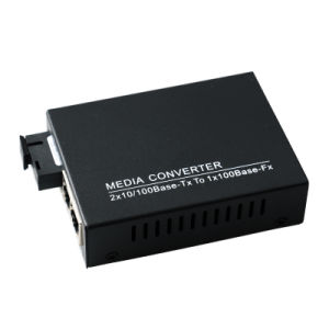 10/100m Ethernet Media Converter Single Fiber and 2 RJ45 Port Max 20km (MC1001SC) pictures & photos
