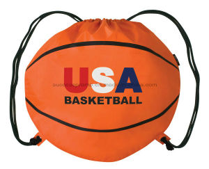 Football Basketball Shaped Drawstring Bag with Customized Logo pictures & photos