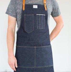 Custom High Quality Denim Apron with Leather Strap