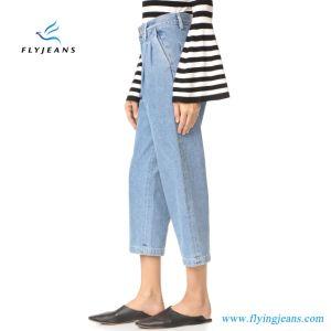 2017 Ladies Cotton Slim Fit Boyfriend Pants Blue Ankle Denim Jeans pictures & photos