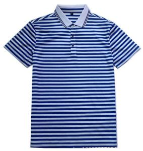 Men′s 100 Cotton Blue Stripe Polo Shirt pictures & photos
