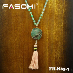 Natural Green Agate Beaded Pendant Necklaces with Tassel