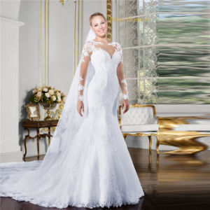 2017 New Arrival Customized Made White Mermaid Wedding Dress Long Sleeves Lace Appliques High Neck Fish Tail Vestidos De Novias Robes Mariee Taobao Wedding Dres