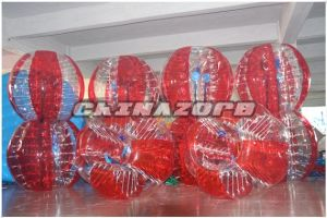 Popular Type Half Red&Half Clear Inflatable Zorb Soccer