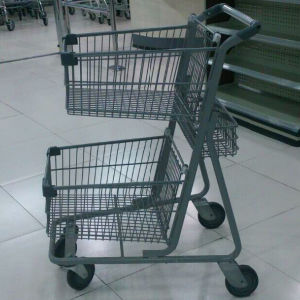 Powder Coating Canada Double Shopping Trolley Cart by Yuanda Manufacturer pictures & photos
