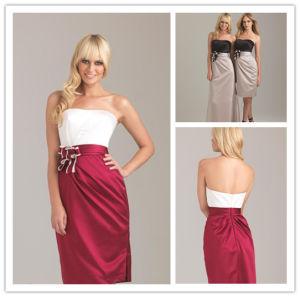 New Hot Short Satin Strapless Sleeveless Flower Elegant Red and White Bridesmaid Dresses