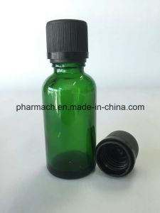 Green Glass Dropper Bottle with Child Safety, Tamper Evident Cap pictures & photos