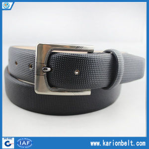 Casual Embossed Male Leather Dress Belt with Rectangular Pin Buckle (30-13195)
