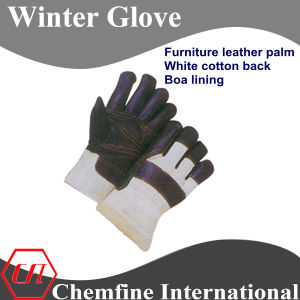 Furniture Leather Palm, White Cotton Back, Boa Lining Leather Winter Glove pictures & photos