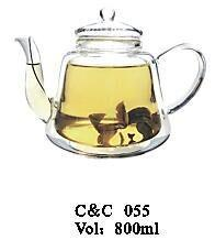 Pyrex Wholesale Double Wall Glass Teapots with Infuser/Coffee Tea Set/Blooming Tea Pot with Infuser pictures & photos