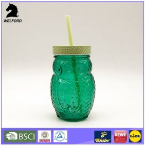 Owl Shape Colored Mason Jar with Straw Drinkware