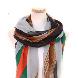 Hot Fashion Stripes Design Winter Voile Scarves pictures & photos