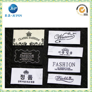 Black and White Color High Quantity Shirt Woven Label (JP-CL022) pictures & photos