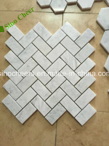 Polished Carrara White Mosaic Mixed Gray Marble Waterjet Floor Wall Tile pictures & photos
