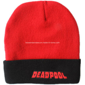 OEM Produce Skull Printed Black Men′s Sports Snowboard Acrylic Knit Customized Wool Beanie pictures & photos