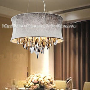 Popular Crystal Pendant Chandelier Light Lighting with Fabric Shade pictures & photos