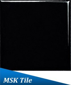 "4X4"" Flat Gloss Black Ceramic Glazed Wall Tile pictures & photos"