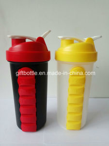 700ml Gym Shaker BPA Free Plastic Protein Shaker Bottle, PP Shaker Bottle with 7 Days Pill Box pictures & photos