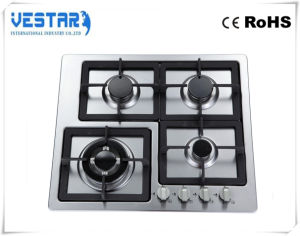 Stainless Steel Gas Hob with Cast Iron Pan Support pictures & photos