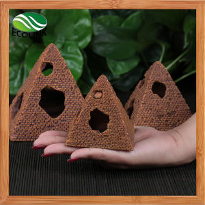 Pyramid Shape Artificial Aquarium Fish Tank Underwater Ornament Decoration 10.5cm Height Brown pictures & photos