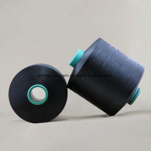 100% Polyester Dope Dyed Black Ddb 150d/36f Nim Yarn pictures & photos