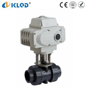 UPVC Electric Motorized Flow Control Ball Valve Plastic Shutoff Valves pictures & photos
