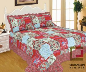 Printed Ultrasonic 100% Microfiber Quilt/Bedding Set with Ruffles pictures & photos