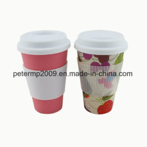BPA Free Biodegradable Bamboo Coffee Mug with Silicone Lid and Holder pictures & photos