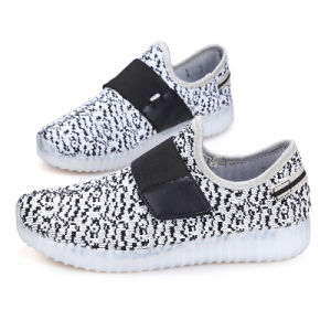Hot Style Yeezy Boots Lace-up Flyknit USB Charge Flashing Kids LED Shoes pictures & photos