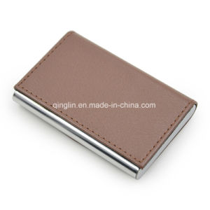 High Quality Custom Logo Brown PU Metal Business Card Case pictures & photos