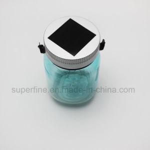 Popular Garden Reflection Nice Painted Blue Glitter Glass Mason Jar Solar Light pictures & photos