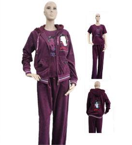 Lady′s Fashion 3PC Leisure Suit Sport Coral Fleece pictures & photos
