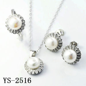 Latest Designs 925 Silver Pave CZ Fresh Water Pearl Set pictures & photos
