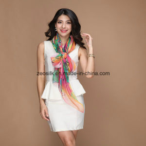 Printed Custom Silk Women Chiffon Silk Scarf pictures & photos